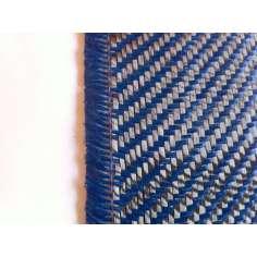 Tejido de fibra de carbono-kevlar (Azul oscuro) Sarga 2x2 3K peso 200gr/m2 ancho 1000 mm.