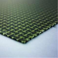 Muestra comercial plancha de fibra de Kevlar-carbono una cara - 50 x 50 x 1 mm.