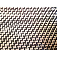 Tejido de fibra de carbono-kevlar Sarga 2x2 3K peso 190gr/m2 ancho 1000 mm.