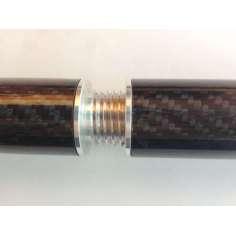 Conector de aluminio con rosca para unión de tubos con medidas (25mm. Ø exterior - 22mm. Ø interior)