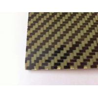 Commercial sample carbon fiber kevlar plate two sides - 50 x 50 x 0.5 mm.