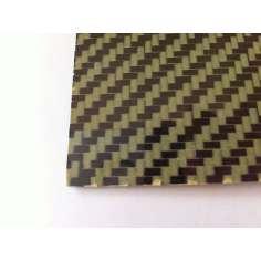 Muestra comercial plancha de fibra de carbono-kevlar dos caras - 50 x 50 x 0,5 mm.