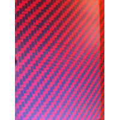 Plancha de fibra de carbono-kevlar dos caras BRILLO (ROJO) - 500 x 400 x 0,5 mm.