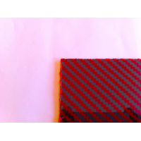 Two-sided kevlar carbon fiber plate GLOSS (red) - 500 x 400 x 0,5 mm.