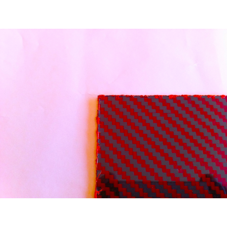 Commercial sample two-sided carbon fiber kevlar plate (RED) - 50 x 50 x 1 mm.