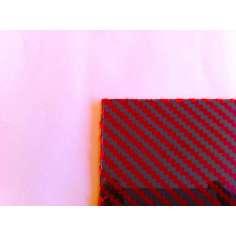 Placa de fibra de carbono-kevlar de dois lados BRILHO (vermelho) - 500 x 400 x 1 mm.