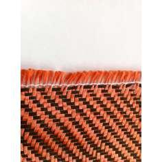 Amostra comercial de tecido de fibra de kevlar-carbono (Laranja) Sarja 2x2 3K peso 200gr/m2 - 250mm x 200mm.