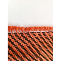 Commercial sample woven of kevlar-Carbon fiber (Orange) Twill 2x2 3K weight 200gr/m2 - 250mm x 200mm.