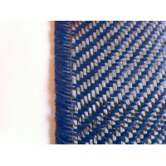 Amostra comercial de tecido de fibra de kevlar-carbono (Azul escuro) Sarja 2x2 3K peso 200gr/m2 - 250mm x 200mm.