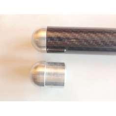 Tapón de aluminio redondeado para tubos con medidas (25mm. Ø exterior - 23mm. Ø interior)