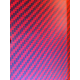 Two-sided kevlar carbon fiber plate GLOSS (red) - 400 x 250 x 1 mm.