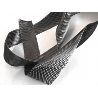 Commercial sample of 3K plain carbon fiber with fiberglass flat tape 50mm