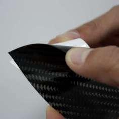 Muestra comercial lámina adhesiva de fibra de carbono real - 50 x 50 x 0,2 mm.
