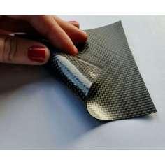 Muestra comercial lámina flexible de fibra de carbono 3K Tafetán (Color Negro) - 50x50 mm.