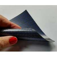Commercial sample flexible carbon fiber sheet with colored silk (Color Black and Blue) - 50x50 mm.