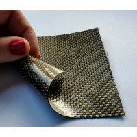 Commercial sample flexible carbon fiber sheet with colored silk (Color Black and Yellow) - 50x50 mm.