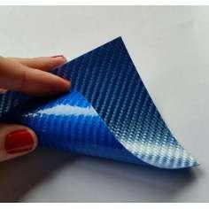 Lâmina flexível de fibra de vidro de amostra comercial 1K Sarja 2x2 (cor azul) - 50x50 mm.