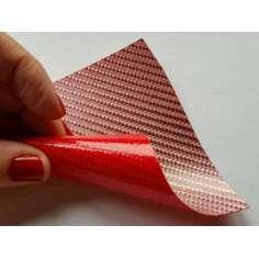 Lâmina flexível de fibra de vidro de amostra comercial 1K Sarja 2x2 (cor rosa-vermello) - 50x50 mm.