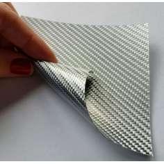 Muestra comercial lámina flexible de fibra de vidrio Sarga (Color Plata) - 50x50 mm.