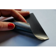 Muestra comercial lámina flexible de fibra de vidrio 1K Tafetán (Color Negro) - 50x50 mm.