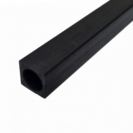 Square fiber carbon tube, outer (10x10 mm.) - round interior (Ø 8 mm.) - Length 1000 mm.