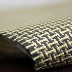 Amostra comercial de tecido de fibra de kevlar-Carbono Tafetá 5x4 3K peso 165gr/m2 - 250mm x 200mm.