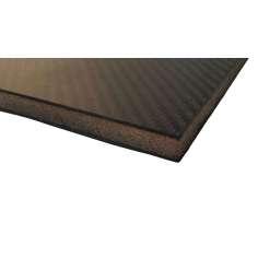 Placa sanduíche de fibra de carbono com núcleo interno - 400 x 250 x 12 mm.