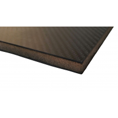 Plancha sandwich de fibra de carbono con núcleo interior - 500 x 400 x 13 mm.