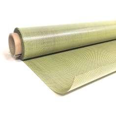 Amostra comercial de chapa flexível de fibra de carbono-kevlar Tafetá (Cor Preto e Amarelo) - 50x50 mm.