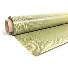 Muestra comercial lámina flexible de fibra de kevlar-carbono Tafetán (Color Negro y Amarillo) - 50x50 mm.