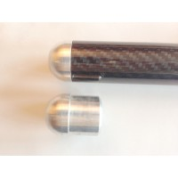 Rounded aluminum plug for tubes with dimensions (24mm, external Ø - 22mm, inner Ø)