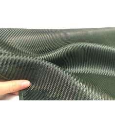 Tejido de fibra de carbono-kevlar (Verde) Sarga 2x2 3K peso 200gr/m2 ancho 1200mm.