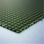 Commercial sample one sided Kevlar-carbon fiber plate - 50 x 50 x 2,5 mm.