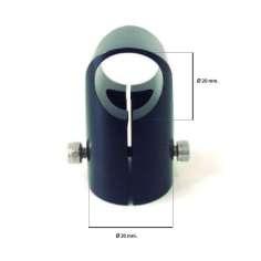Conector en T de aluminio para tubos de ⌀ exterior 20mm.