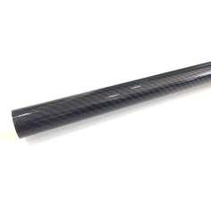 Tubo de fibra de carbono-kevlar azul malha vista (30 mm. Ø externo - 27 mm. Ø interior) 1200 mm.