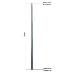 Tubo cónico de fibra de carbono malla vista (de 24 a 42mm. Ø exterior - 20 a 38mm. Ø interior) 2000mm.