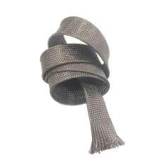 Amostra comercial de manga tubular trançada de fibra de carbono - Ø 25 mm. (17,42 g/m)