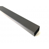 Square fiber carbon tube, outer (50x50 mm.) - interior (46x46mm.) - Length 1850 mm.