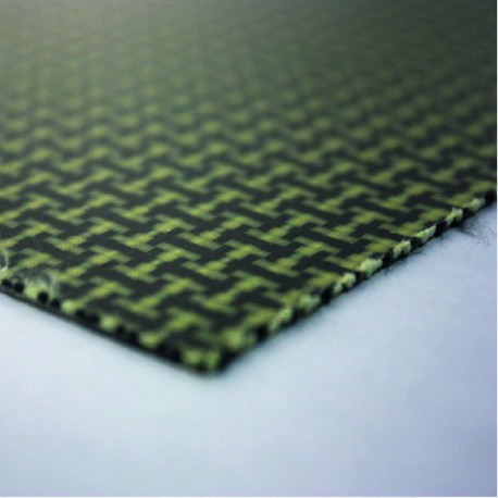 Commercial sample one sided Kevlar-carbon fiber plate - 50 x 50 x 1,5 mm.
