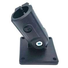 Abrazadera-conector base de bisagra ángulo variable recto para tubo Ø exterior 12-18mm.