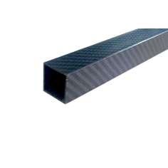 Tubo cuadrado, exterior (25x25 mm.) - interior (22x22 mm.) de fibra de carbono - Longitud 1500 mm.