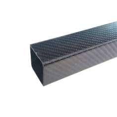 Tubo cuadrado, exterior (40x40 mm.) - interior (36x36 mm.) de fibra de carbono - Longitud 1000 mm.