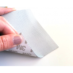 Lámina flexible de fibra de vidrio 1K Sarga (Color Plata) con adhesivo 3M