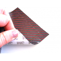 Flexible carbon fiber sheet with colored silk (Black and Red Color) with 3M adhesive
