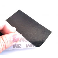 Commercial sample carbon fiber flexible blade 3K Plain 1x1 (Color Black) with 3M adhesive - 50x50 mm.
