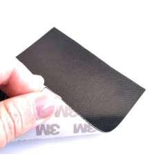 Muestra comercial lámina flexible de fibra de carbono 3K Tafetán (Color Negro) con adhesivo 3M - 50x50 mm.