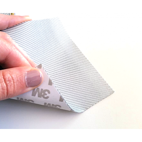 Commercial sample glass fiber flexible blade 1K Twill 2x2 (Silver color) with 3M adhesive - 50x50 mm.
