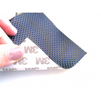 Commercial sample flexible carbon fiber sheet with colored silk (Color Black and Blue) with 3M adhesive - 50x50 mm.