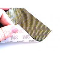 Commercial sample flexible carbon fiber sheet with colored silk (Color Black and Yellow) with 3M adhesive - 50x50 mm.
