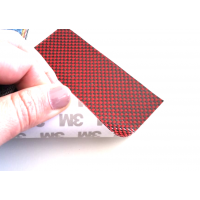 Commercial sample flexible sheet of kevlar-carbon fiber Taffeta (Color Black and Red) with 3M adhesive - 50x50 mm.